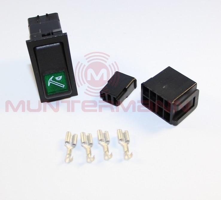 Wippschalter komplett Set - Symbol Geräteraumbeleuchtung 12 o 24V